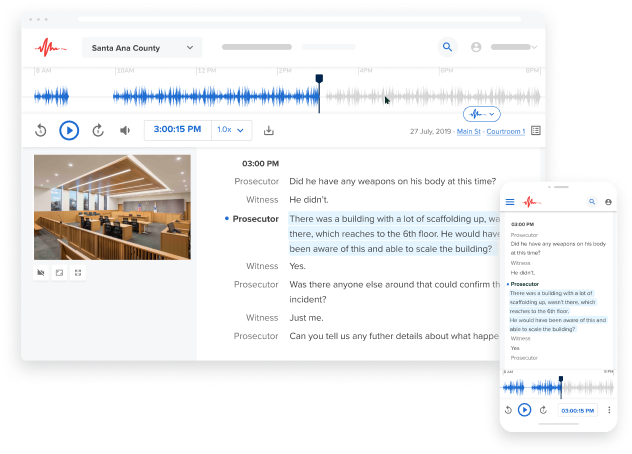 Desktop and mobile courtroom playback and speech-to-text pages